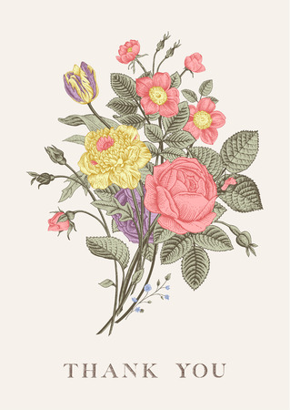 Illustration for Floral card. Bouquet of roses, tulip, dog-rose and anemone. Vintage vector illustration. Classic. Pastel color. Thank you! - Royalty Free Image
