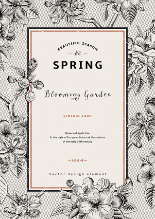 Illustration pour Vintage vertical spring card. Branch of apple tree blossoms. Black and white vector illustration. Lace background. - image libre de droit