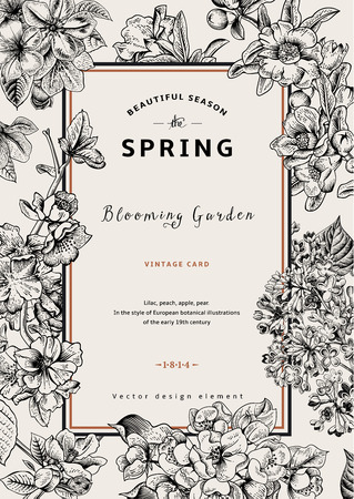 Ilustración de Vintage vector vertical card spring. Black and white blooming branches of lilac, peach, pear, pomegranate, apple tree. - Imagen libre de derechos