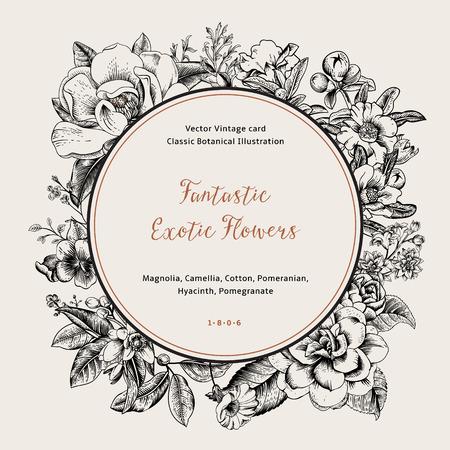 Ilustración de Wreath with exotic flowers. Black magnolia, camellia, hyacinth, pomegranate on white background. Vector Vintage card. - Imagen libre de derechos