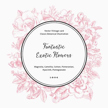 Ilustración de Wreath with exotic flowers. Pink magnolia, camellia, hyacinth, pomegranate on white background. Vector Vintage card. - Imagen libre de derechos