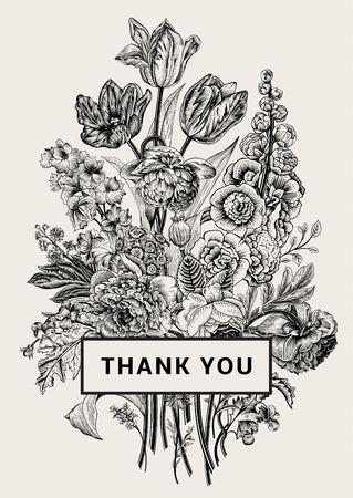 Illustration pour Vintage floral card. Victorian bouquet. Black and white peonies, mallow, delphinium, roses, tulips, violets, petunia. Thank you. Vector illustration. Monochrome. - image libre de droit