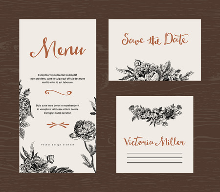 Ilustración de Wedding set. Menu, save the date, guest card. Black and white flowers peonies and roses. Vintage vector illustration. - Imagen libre de derechos