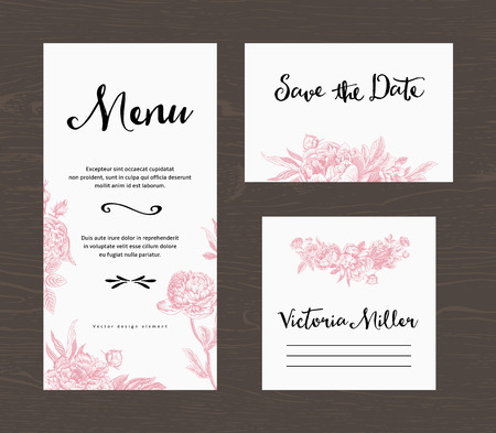 Ilustración de Wedding set. Menu, save the date, guest card. Pink flowers peonies and roses. Vintage vector illustration. - Imagen libre de derechos