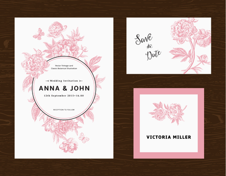 Foto de Wedding set. Menu, save the date, guest card. Pink flowers peonies. Vintage vector illustration. - Imagen libre de derechos