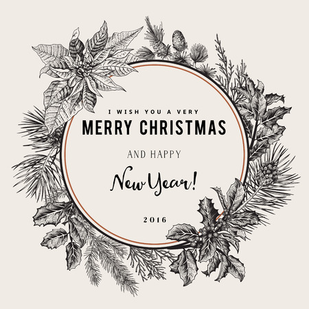 Illustration pour Vintage vector card. I Wish You A Very Merry Christmas And Happy New Year. The wreath of branches of different trees. Black and white. - image libre de droit