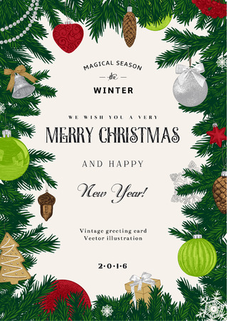 Illustration pour Vintage vector card. Christmas frame with red and green toys and decorations. - image libre de droit