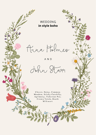 Ilustración de The wreath of wild flowers. Wedding invitation in the style of boho. Vector vintage illustration. - Imagen libre de derechos