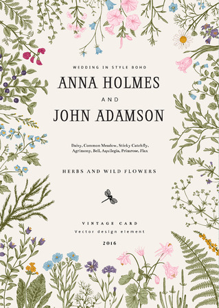 Illustration for The frame of herbs and wild flowers. Wedding invitation in the style of boho. Vector vintage illustration. Colorful - Royalty Free Image