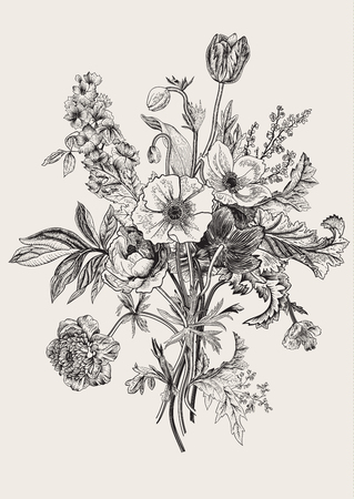 Illustration pour Victorian bouquet. Spring Flowers. Poppy, anemones, tulips, delphinium. Vintage botanical illustration. design element. Black and white. Engraving - image libre de droit