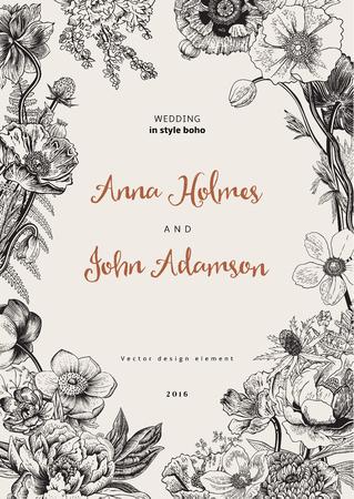 Illustration pour Wedding invitation. Spring Flowers. Poppy, anemones, peony. Vintage botanical illustration. design element. Black and white - image libre de droit