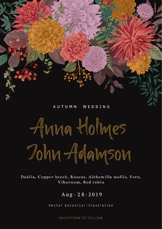 Ilustración de Wedding invitation. Summer and autumn flowers. Dahlias, Ruscus, Viburnum. Modern floristics. Vector illustration. - Imagen libre de derechos