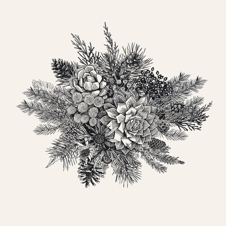 Illustration pour Winter bouquet vintage vector illustration. - image libre de droit