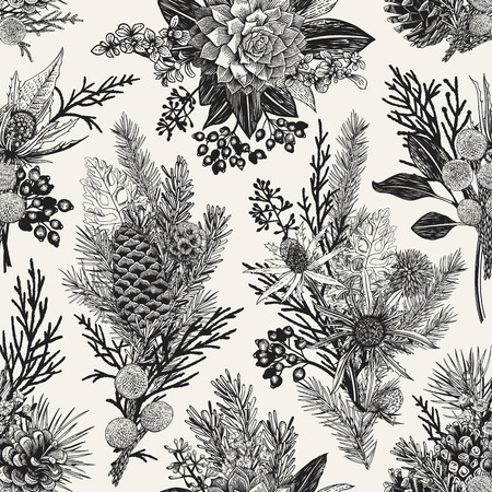 Photo for Seamless floral pattern. Winter Christmas decor. Evergreen, cone, succulents, flowers, leaves, berries. Botanical vector vintage illustration. Black and white. - Royalty Free Image