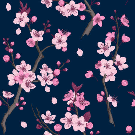 Illustration pour Sakura. Seamless pattern. Pink Cherry blossom branches. Vector botanical illustration.  - image libre de droit