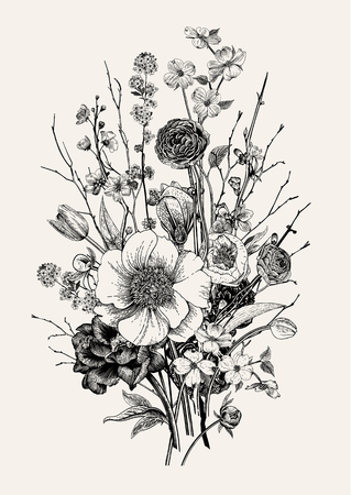 Illustration pour Bouquet, spring flowers and twig. Peonies, spirea, cherry blossom, dogwood. Vintage botanical illustration. Black and white. - image libre de droit