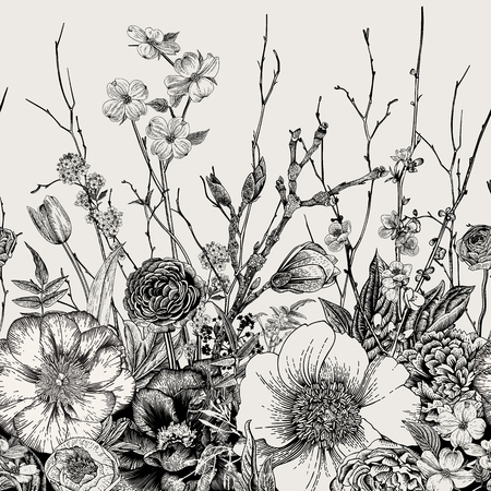 Ilustración de Seamless border. Spring Flowers and twig. Peonies, Spirea, Cherry Blossom, Dogwood. Vintage botanical illustration. Black and white - Imagen libre de derechos