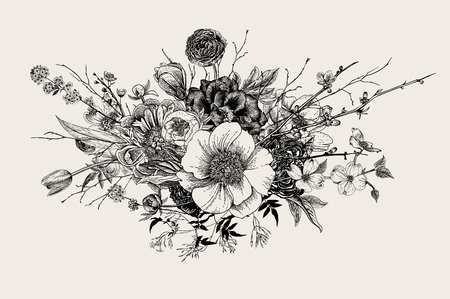 Ilustración de Bouquet. Spring Flowers and twigs. Peonies, Spirea, Cherry Blossom, Dogwood. Vintage botanical illustration. Black and white - Imagen libre de derechos