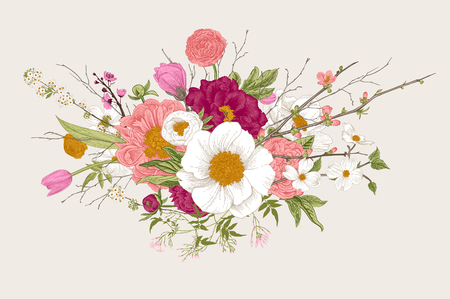 Illustration for Bouquet, spring flowers and twigs. Peonies, spirea, cherry blossom, dogwood. Vintage botanical illustration. - Royalty Free Image