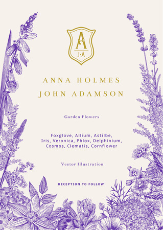 Illustration pour Wedding invitation. Vector vintage illustration. Garden flowers. Ultraviolet - image libre de droit