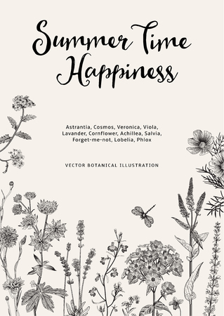 Illustration pour Summer time. Happiness. Vector vintage botanical illustration. Black and white garden flowers - image libre de droit