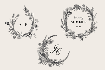 Illustration for Floral wreaths. Design elements. Flowers and plants of fields and forests. Vector vintage botanical illustration. Black and white - Royalty Free Image