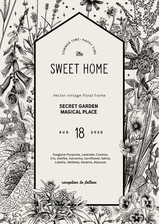 Illustration for Vintage vector card. Sweet house in the secret garden. Summer garden flowers. Classic illustration. Black and white - Royalty Free Image