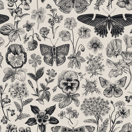 Ilustración de Seamless botanical vintage pattern. Vector illustration. Meadow and garden butterflies and flowers. Black and white - Imagen libre de derechos