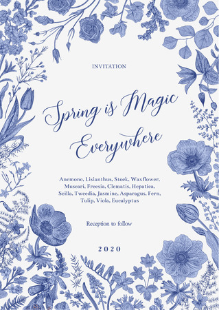 Illustration pour Spring magic. Invitation. Vector vintage illustration. Blue and white. Toile de Jouy - image libre de droit