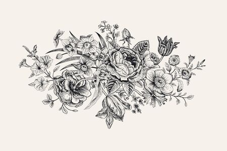 Illustration for Vintage floral vector card. Victorian bouquet. Classic botanical illustration. Black and white - Royalty Free Image