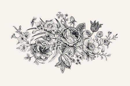 Ilustración de Vintage floral vector card. Victorian bouquet. Classic botanical illustration. Black and white - Imagen libre de derechos