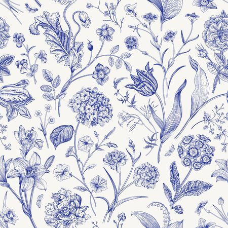 Illustration for Seamless vector floral pattern. Classic illustration. Toile de Jouy - Royalty Free Image