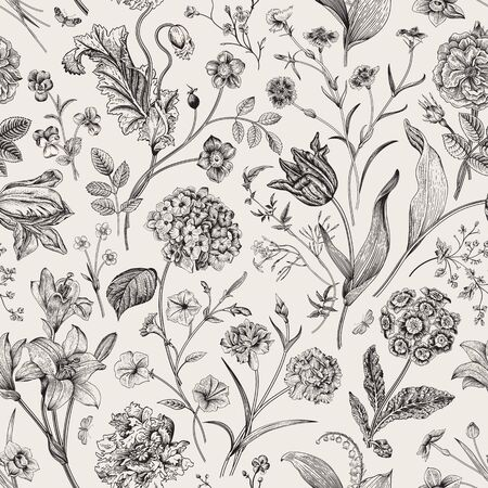 Illustration for Seamless vector vintage floral pattern. Classic illustration. Black and white   - Royalty Free Image