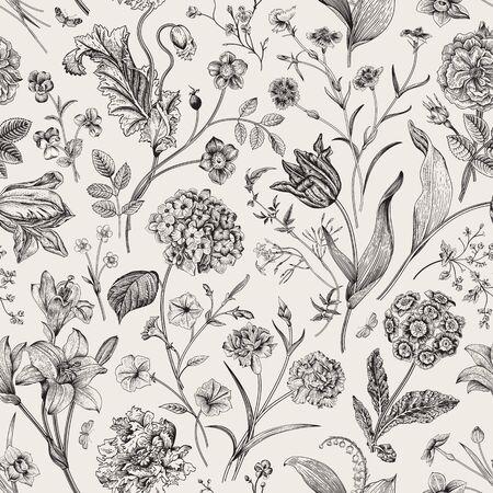 Ilustración de Seamless vector vintage floral pattern. Classic illustration. Black and white   - Imagen libre de derechos