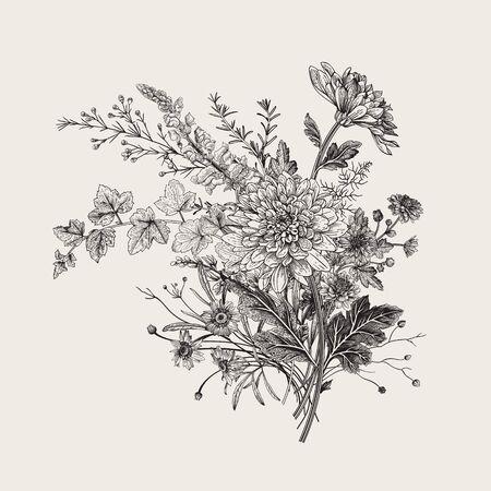 Ilustración de Autumn flowers. Classic flower arrangement. Vector botanical floral illustration. Black and white - Imagen libre de derechos