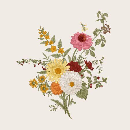Illustration for   Autumn flowers. Classic flower arrangement. Vector botanical floral illustration. Colorful. - Royalty Free Image