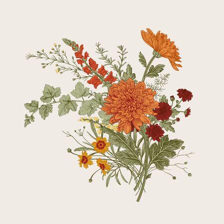 Ilustración de Autumn flowers. Classic flower arrangement. Vector botanical floral illustration. - Imagen libre de derechos