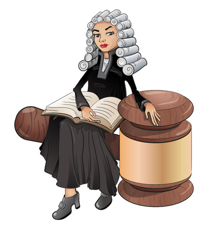 Illustration pour A judge is a female lawyer in a wig with a book and a hammer, vector, a symbol of law and justice. On white background, clipart. - image libre de droit