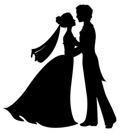 Photo pour Silhouettes of bride and groom - image libre de droit