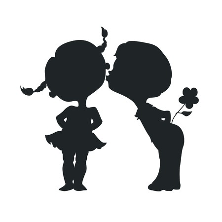 Illustration for Silhouettes of kissing boy and girl - Royalty Free Image