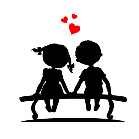 Illustration for Silhouettes of a boy and a girl sitting on a bench - Royalty Free Image