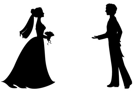 Photo pour Silhouettes of bride and groom. - image libre de droit