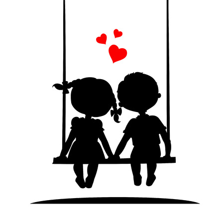 Illustration pour Silhouettes of a boy and a girl sitting on a swing - image libre de droit
