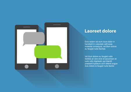 Ilustración de Two black smartphones similar to iphon with blank speech bubbles on the screen. Text messaging flat design concept.    - Imagen libre de derechos