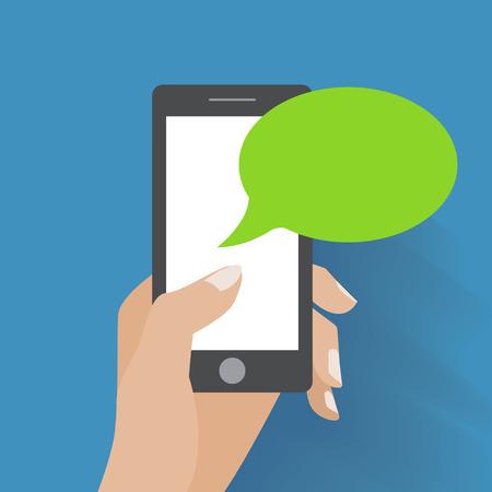 Illustration pour Hand holing smartphone with blank speech bubble for text.     - image libre de droit