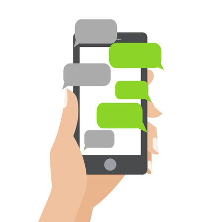 Ilustración de Hand holing black smartphone similar to iphon with blank speech bubbles for text. Text messaging flat design concept.  - Imagen libre de derechos