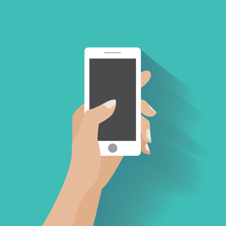 Illustration pour Hand holing white smartphone, touching blank screen. Using mobile smart phone silimar to iphon, flat design concept. - image libre de droit