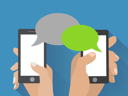 Ilustración de Hands holing smartphone with blank speech bubble for text. Using smart phone similar to iphon for text messaging.  - Imagen libre de derechos