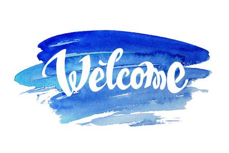 Illustration pour Welcome hand drawn lettering against watercolor background - image libre de droit
