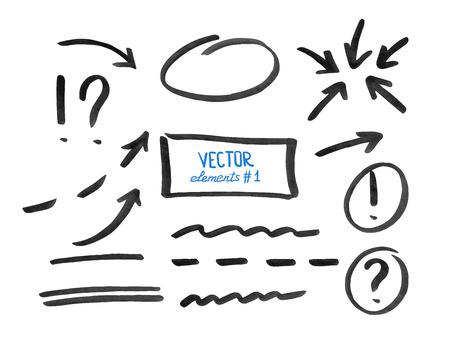 Ilustración de Set of correction and highlight elements, part 1. Circles, arrows, lines etc. Hand drawn with marker pen. Vector illustration. - Imagen libre de derechos